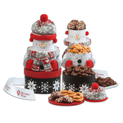 Snowman Food Tower from Maple Ridge Farms
